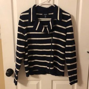 Chaps ladies size L  navy/white stripes  sweater